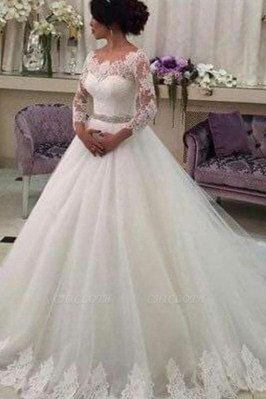Chicloth Long Sleeves Ball Gowns Lace CustomizedTulle Wedding Dress