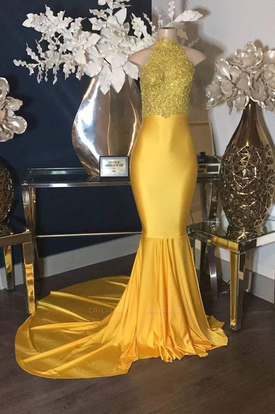 Chicloth Luxury Gold Lace Appliques Halter Sleeveless Mermaid Long Prom Dresses