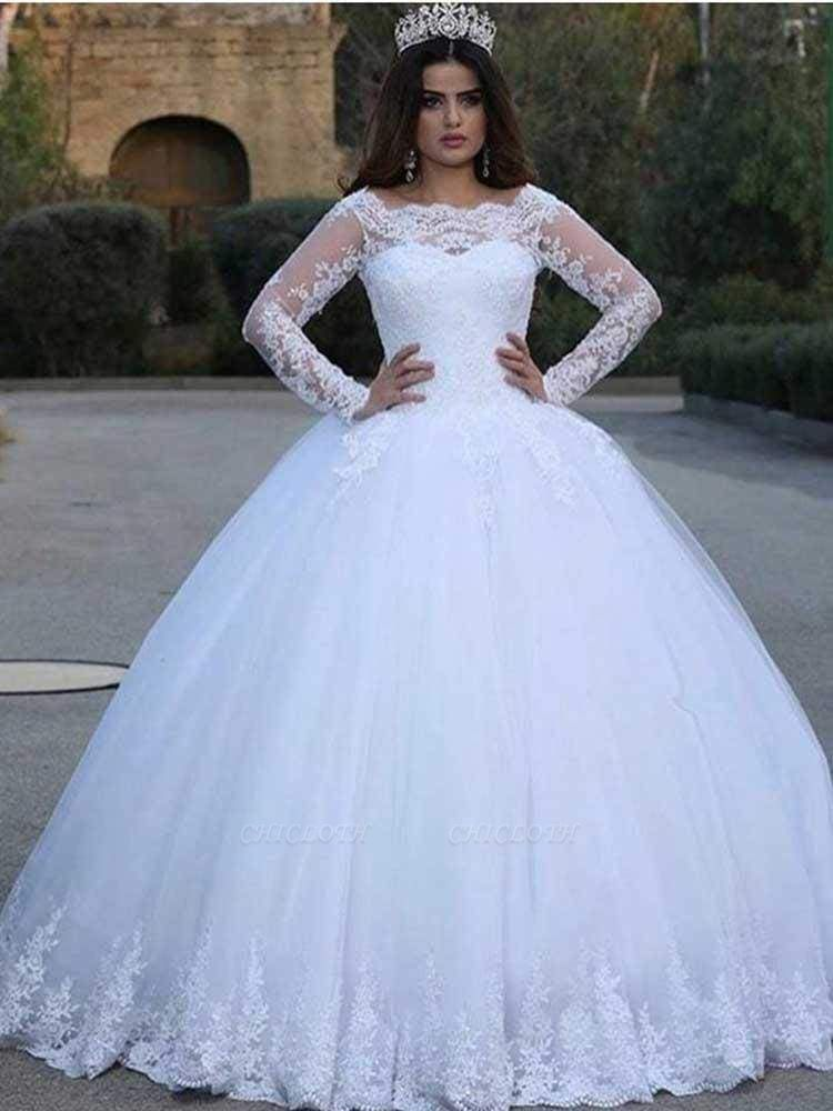 Chicloth Long Sleeves Lace Appliques Wedding Dresses