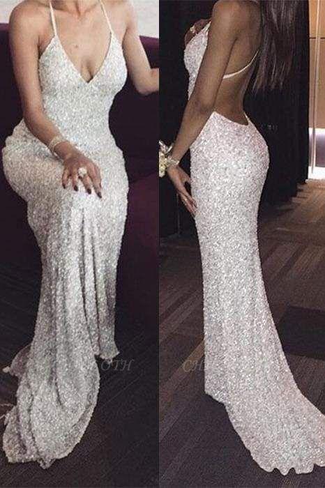 Chicloth White Deep V neck Spaghetti Straps Sequin Mermaid Long Prom Dresses Sexy Evening Dress