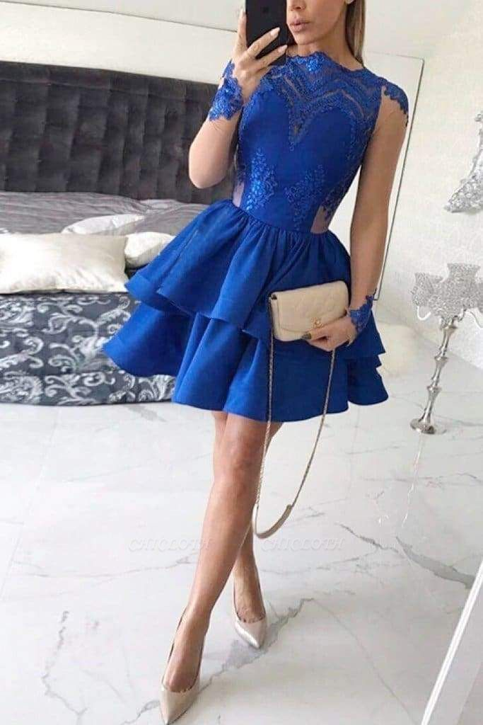 Chicloth Tiered Long Sleeves Royal Blue Satin Homecoming with Appliques Mini Prom Dress