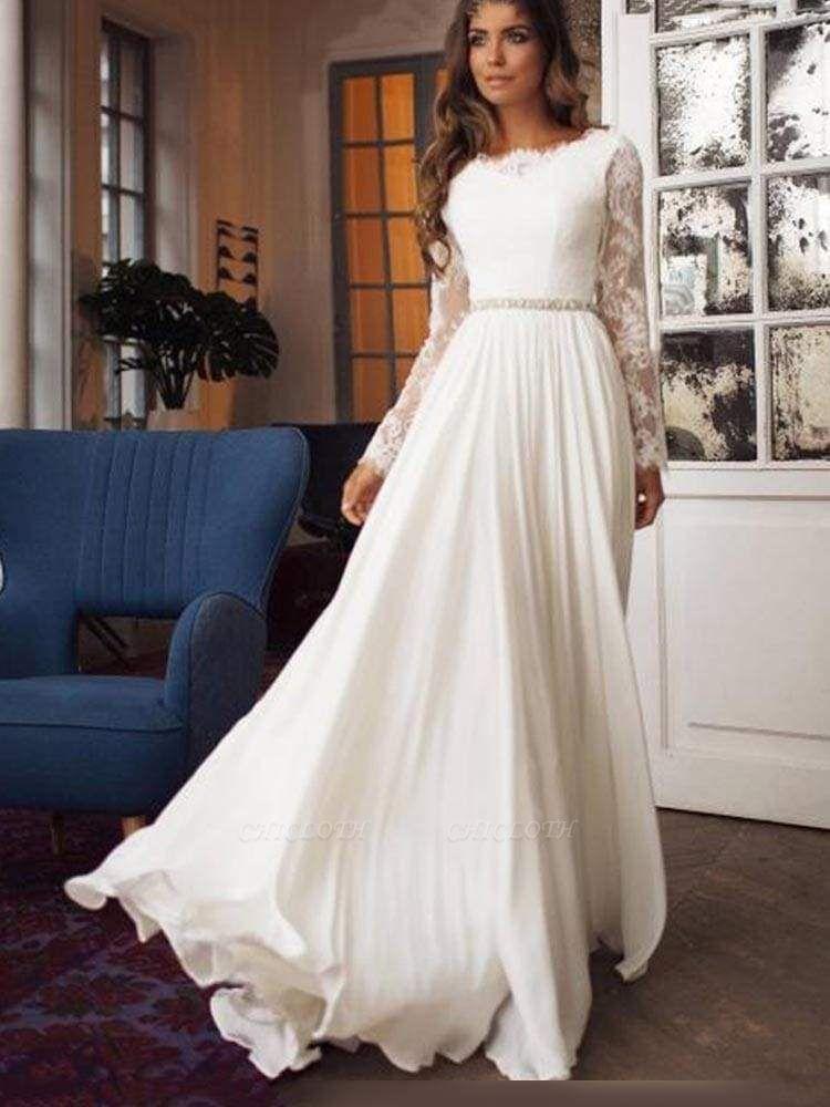Chicloth Glamorous Long Sleeves Sashes Ruffles  Wedding Dresses