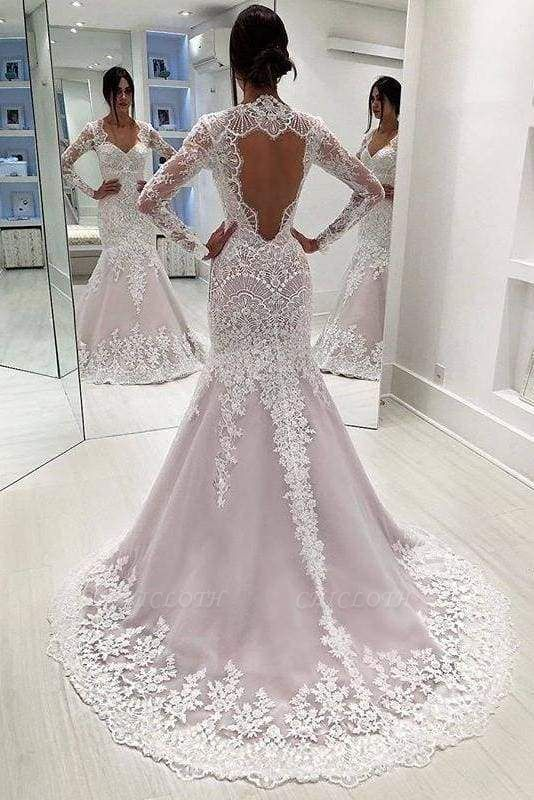 Chicloth Vintage Sleeves Mermaid Long Open Back Wedding Dress
