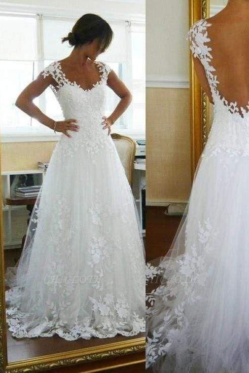 Chicloth A-Line Lace White Straps Pretty Sleeveless Wedding Dress