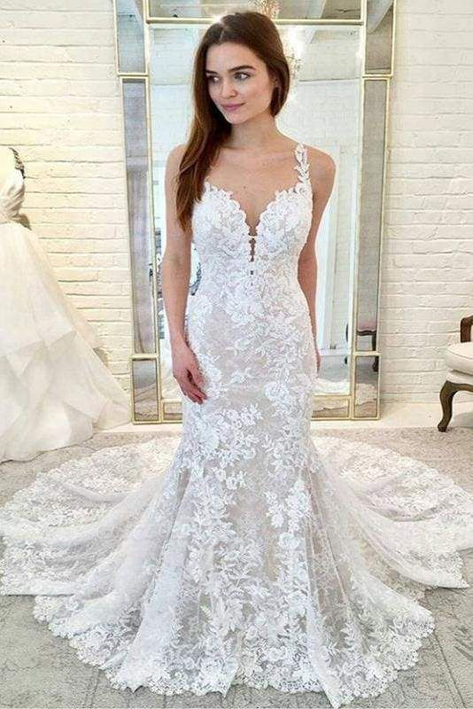 Chicloth Gorgeous Straps Mermaid Train Lace Wedding Dress