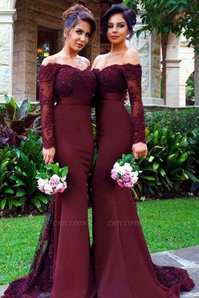 Chicloth Mermaid Off-the-Shoulder Long Sleeves Bridesmaid\/Prom Dress with Lace Appliques