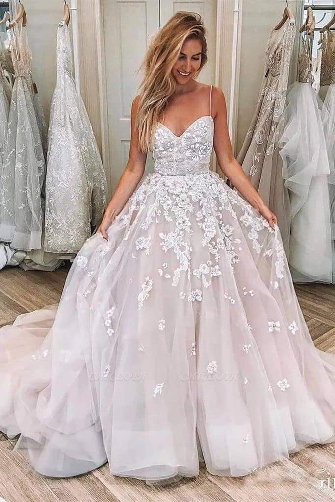 Chicloth Spaghetti Strap Sleeveless Lace Applique Puffy Long Wedding Dress