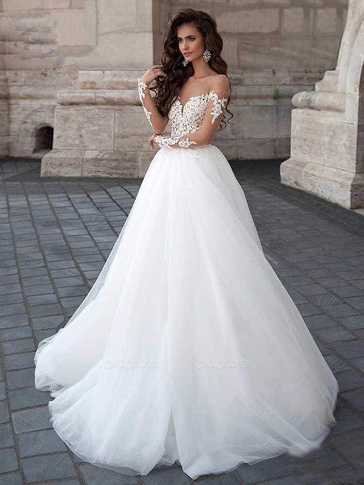 Chicloth New Long Sleeve Backless Lace A-Line Tulle Wedding Dresses