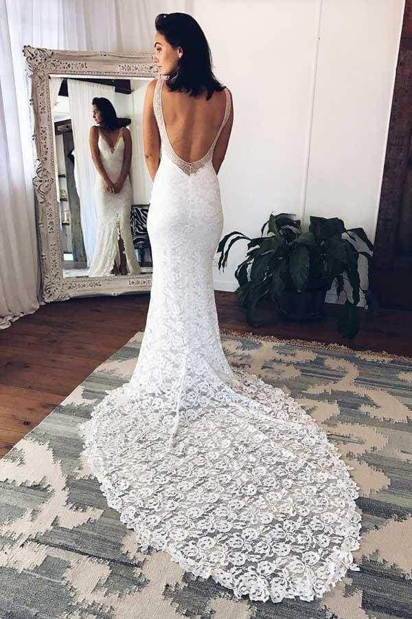Chicloth V-Neck Court Train Split Backless Lace Mermaid Wedding Dress