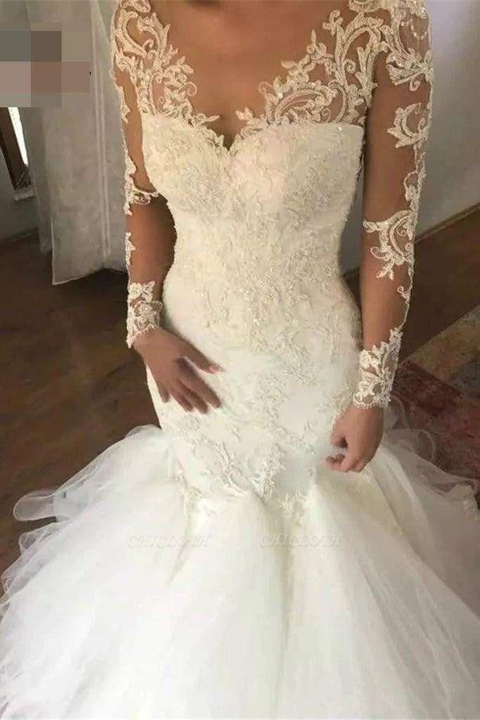 Chicloth Mermaid Sleeves V Neck Long Lace Appliques Wedding Dress