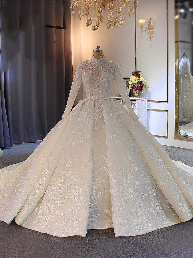 Chicloth Exquisite High Collar Lace-Up Wedding Dresses with Long Sleeves