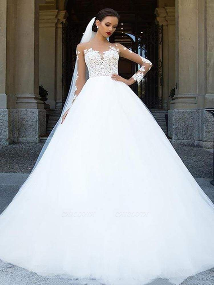 Chicloth Long Sleeves Lace Ball Gown Tulle Wedding Dresses