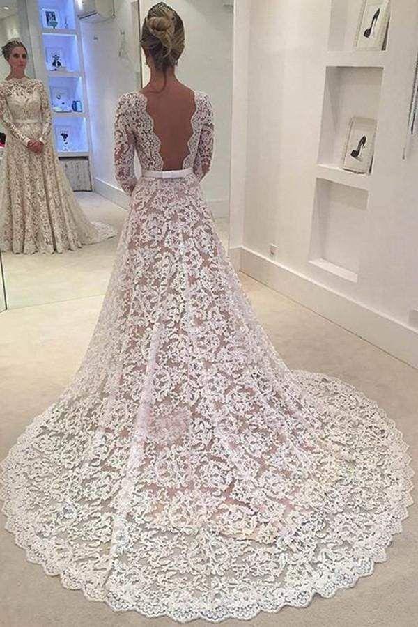 Chicloth Elegant Ivory A-line Bateau Lace Long Sleeve Backless Wedding Dress