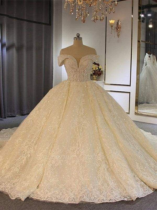 Chicloth Luxury Off-the-Shoulder Lace-Up Ball Gown Wedding Dresses with Beading
