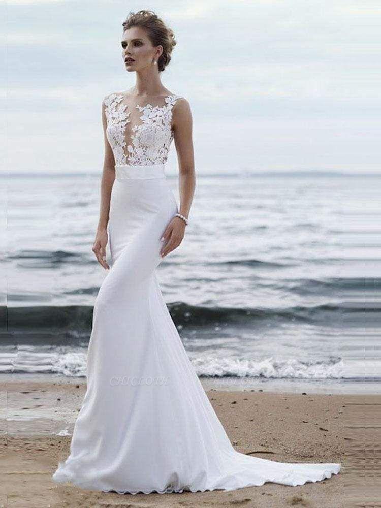 Chicloth Elegant Appliques Lace Mermaid Wedding Dresses