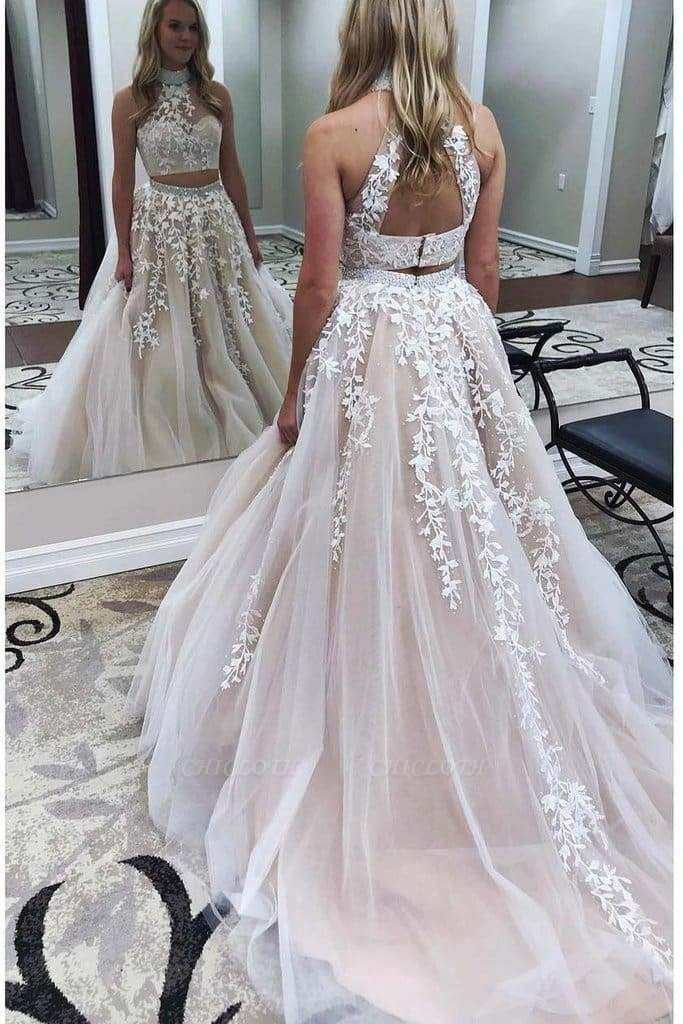 Chicloth Two Pieces Lace Crop Top High Neck Appliques Tulle Prom Dresses with Beads
