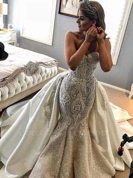 Chicloth Gorgeous Shiny Beading Lace Strapless Overskirt Wedding Dresses