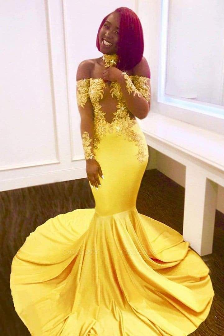 Chicloth Gorgeous Yellow Long Sleeves Off-shoulder Floor Length Appliqued Prom Dresses