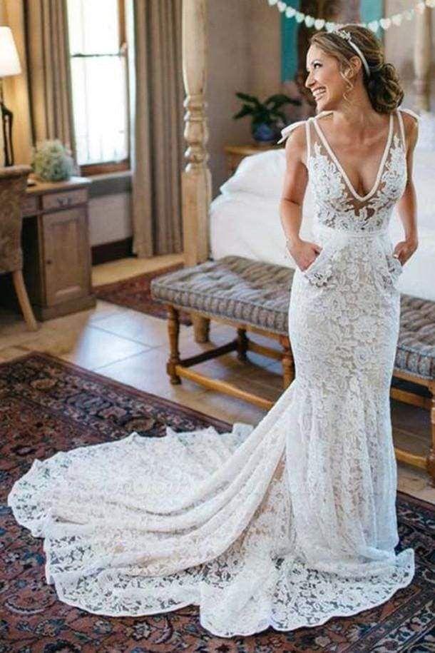 Chicloth Deep V-Neck Beach Sleeveless Lace Mermaid Wedding Dress