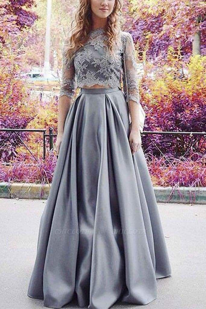Chicloth Precious Best Modest Half Sleeves Two Lace Crop 2 Pieces Sexy Prom Dress