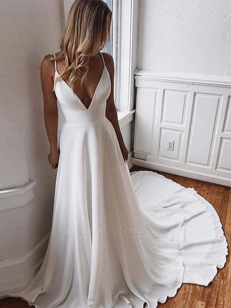 Chicloth Simple Spaghetti-Strap V-Neck Sweep Train Ruffles Wedding Dresses