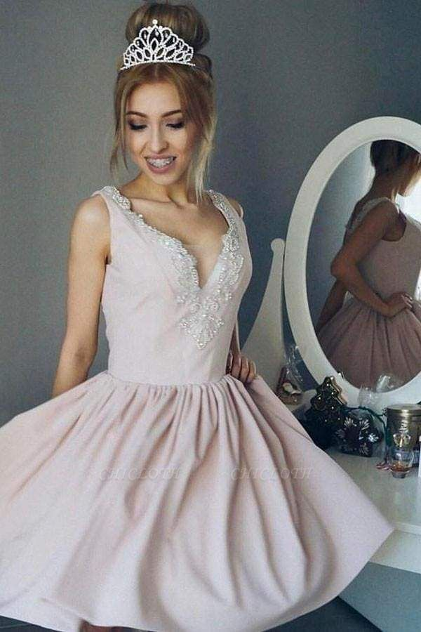 Chicloth A-Line V-Neck Ruched Short Pearl Pink Satin Homecoming with Beading Mini Prom Dress