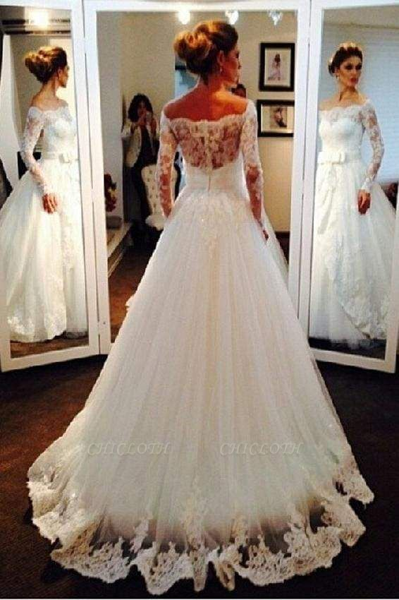 Chicloth Elegant Tulle Lace Off-the-shoulder Long Sleeve Wedding Dress