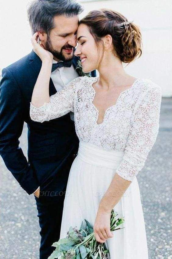 Chicloth Floor Length Chiffon Beach Lace Backless Wedding Dress