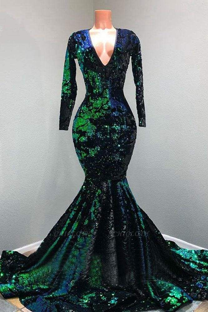 Chicloth Sparkly Sequin Long Sleeve V-neck Mermaid Prom Dresses