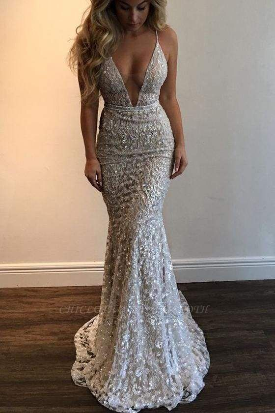 Chicloth Spaghetti Straps Deep V-neck Sleeveless Mermaid Long Prom Dress