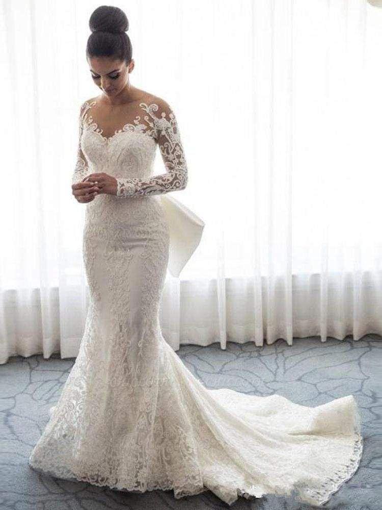 Chicloth Long Sleeves Lace Mermaid Wedding Dresses