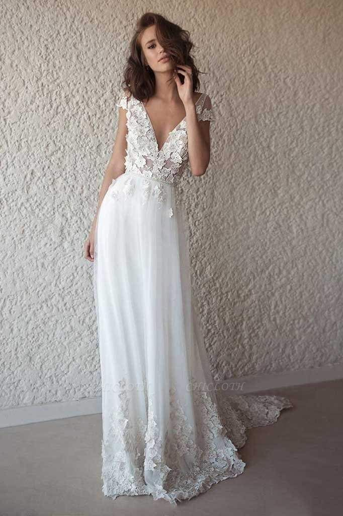 Chicloth Ivory Cap Sleeve V Neck Beach Boho Appliques Wedding Dress