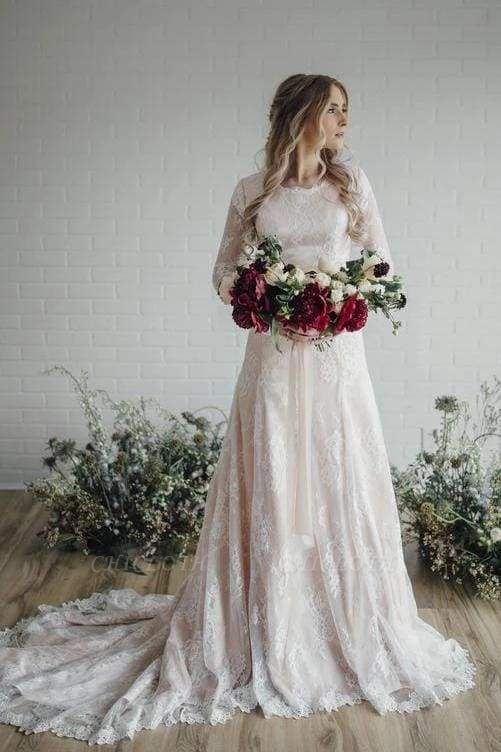 Chicloth A Line Long Sleeve Lace Vintage Wedding Dress