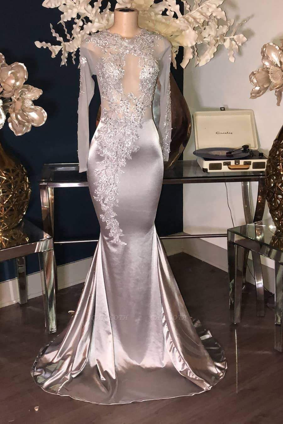 Chicloth Luxury Sliver Long Sleeves Lace Appliques Mermaid Prom Dresses