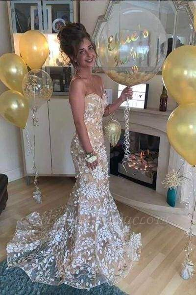 Chicloth Mermaid Formal Dress with Train Sexy Sweetheart Lace Prom Dresses