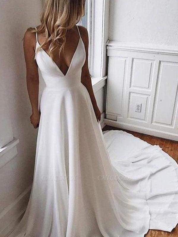 Chicloth Simple V Neck Chiffon A Line Covered Button Boho Wedding Dresses