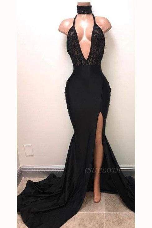 Chicloth Sexy Black Straps Deep V-neck Mermaid Split Sleeveless Evening Dress with Lace