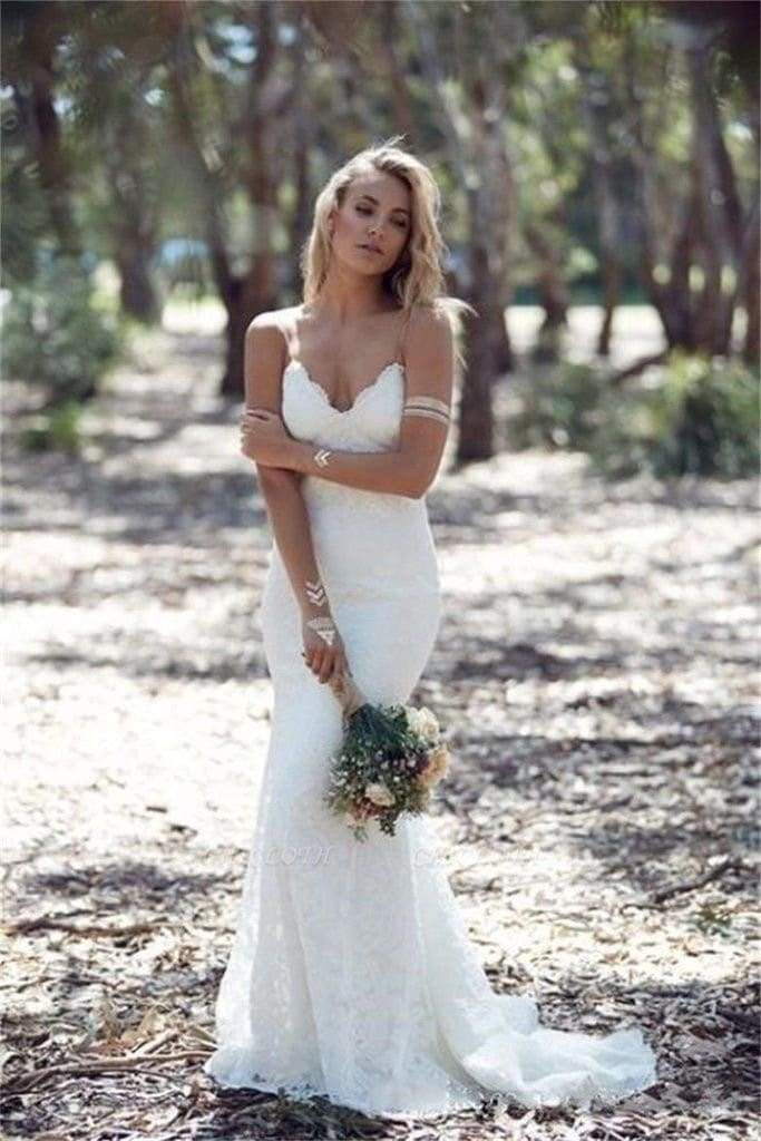Chicloth Spaghetti Strap Lace Beach Backless V Neck Sweep Train Long Wedding Dress