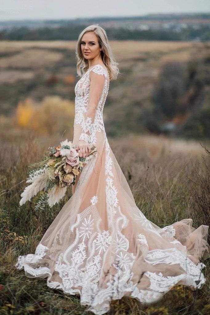 Chicloth Amazing Long Sleeves Boho Lace Appliques Wedding Dress