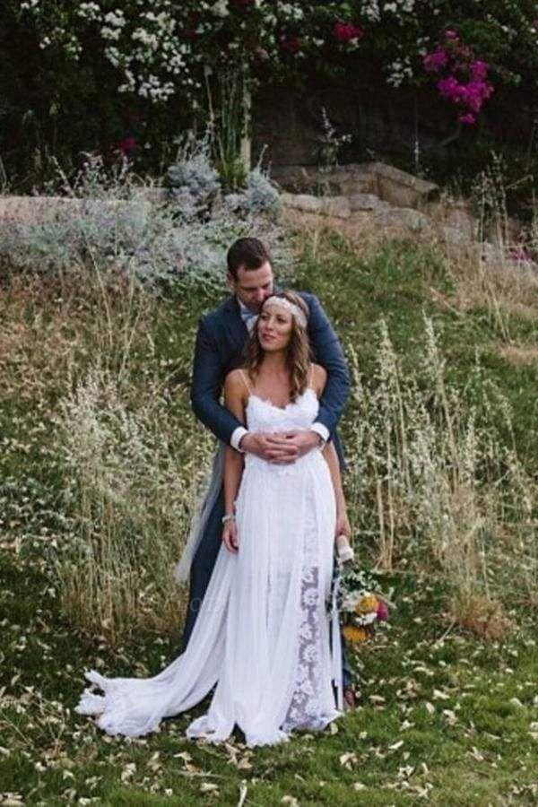 Chicloth Casual Boho Spaghetti Straps Lace Beach Wedding Dress