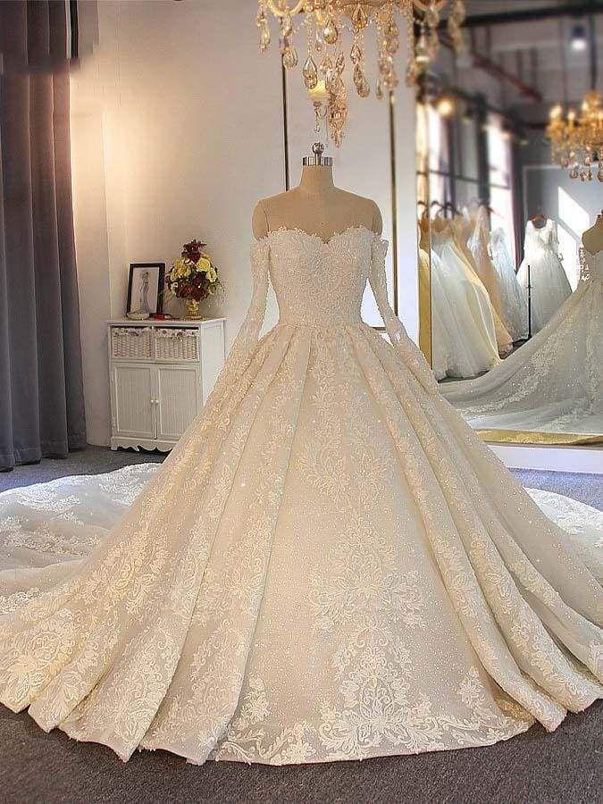 Chicloth Sweetheart long sleeves Full Lace Beading Wedding Dresses
