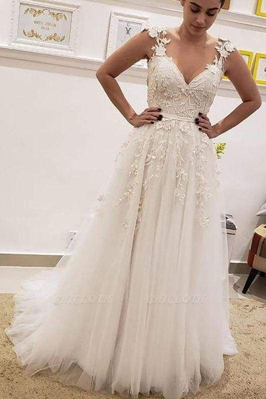 Chicloth Simple Tulle Lace Illusion Back A-Line A Line V Neck Wedding Dress