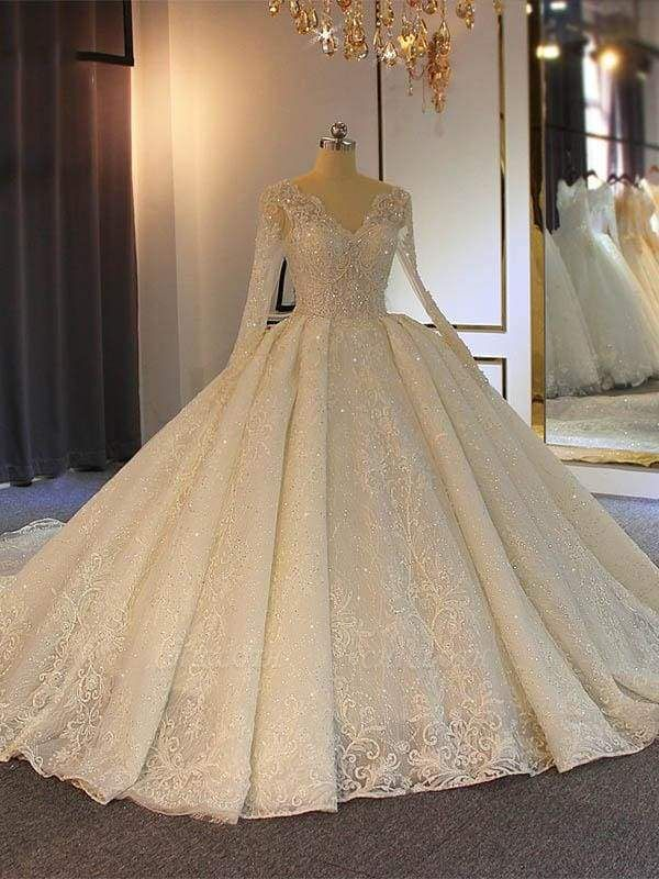Chicloth Sparkling V-Neck Long Sleeves Lace -Up Ball Gown Wedding Dresses
