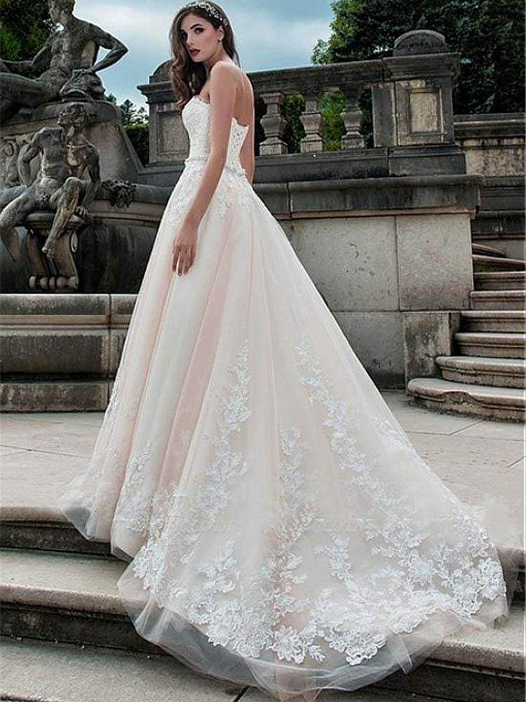 Chicloth Glamorous Sweetheart Tulle A-Line Lace Wedding Dresses
