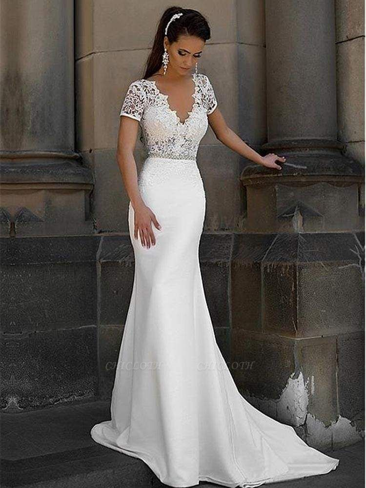 Chicloth Gorgeous V-neck Short Sleeves Lace Mermaid Wedding Dresses