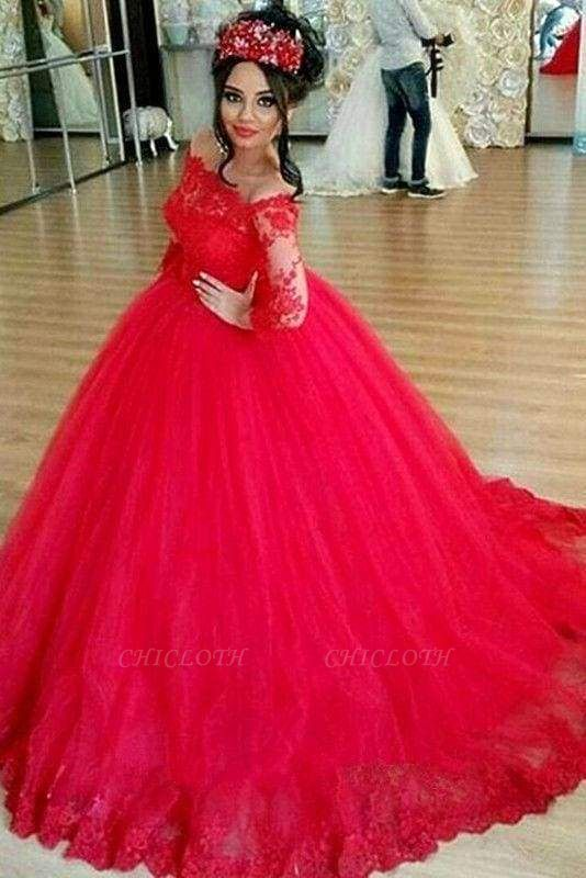 Chicloth Red Long Sleeve Off-the-shoulder Lace Wedding Dress Ball Gown Quinceanera Dresses