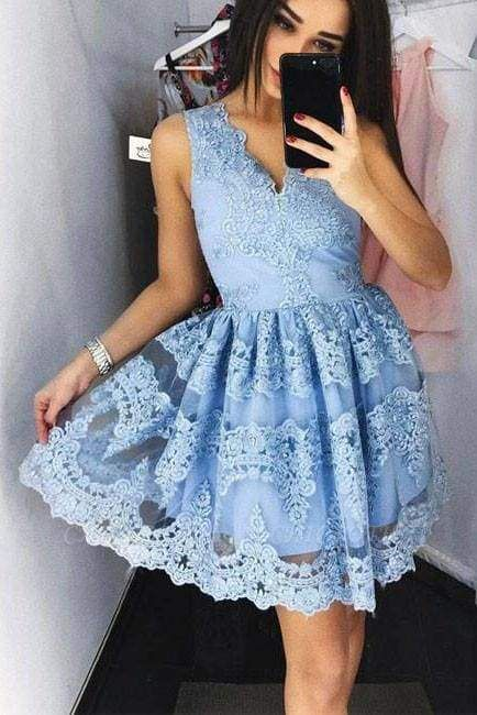 Chicloth Cute Mini V-Neck Blue Homecoming Lace Appliqued Short Prom Sweet 16 Dress
