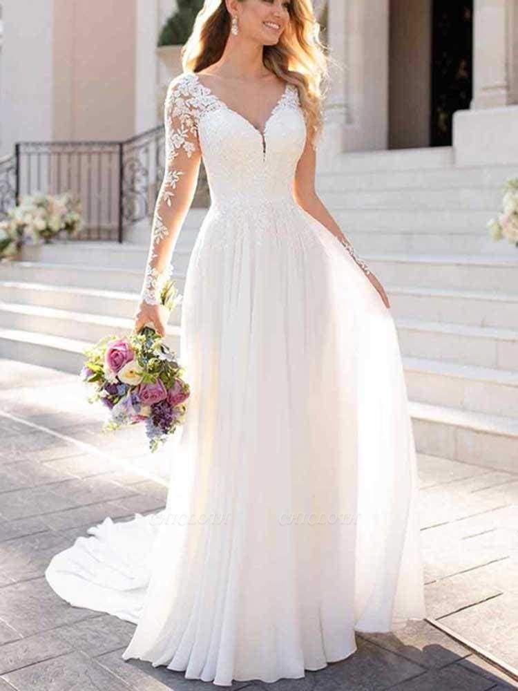 Chicloth Modest V-Neck Long Sleeves A-Line Ruffles Wedding Dresses