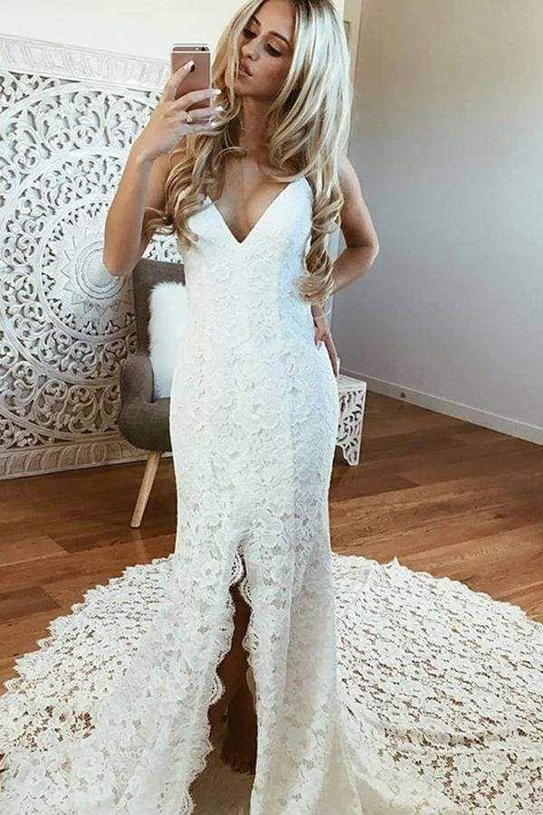 Chicloth Sexy Mermaid Spaghetti Straps Backless Beach Lace Wedding Dress