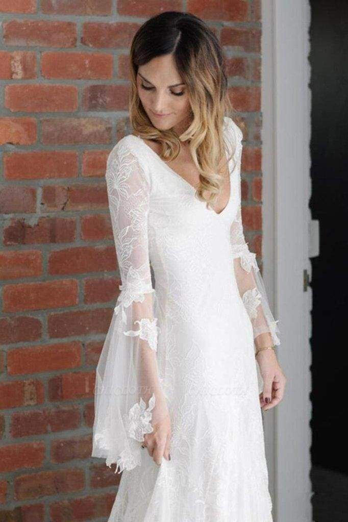 Chicloth Boho V Neck Beach with Long Sleeves Unique Lace Wedding Dress